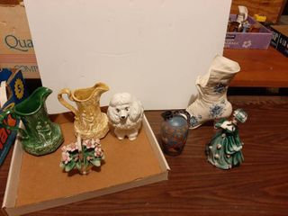 Pitchers  Dog  Shoe Figurine and Capodimonte Flower