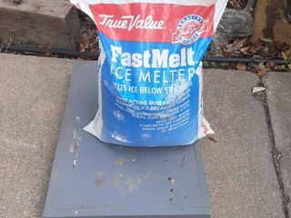 Bag of Ice Melt on Wood Dolly