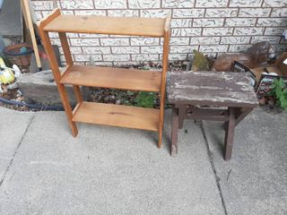 Wood Shelf and Side Table   Stool