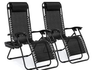 2 Pack Folding Recliner Zero Gravity Chaise lounge Chair W Cup Holder Black   Retail 127 99