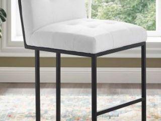 Privy Black Stainless Steel Upholstered Fabric Bar Stool White
