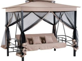 Outsunny 3 Person Outdoor Patio Daybed Gazebo Swing Chair   Retail 499 49