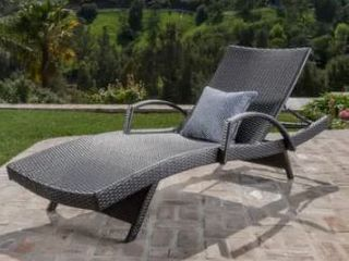 Toscana Outdoor Wicker Armed Chaise lounge Chair by Christopher Knight Home   Retail 334 99