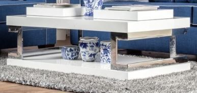 Furniture of America Wazy Contemporary White Metal Sled Coffee Table  Retail 457 49