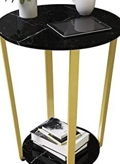 GHQME Two Tiered Round Metal Frame Side Table Black Faux Marble