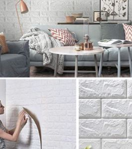 20 PIECE PEEl AND STICK WHITE lOOKING BRICK