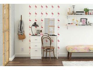 Boahaus Vanity with Mirror  3 Drawers  White  Retail 159 99