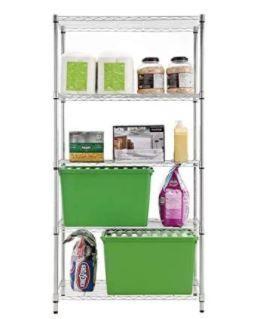 Style Selections 72 in H x 36 in W x 16 in D 4 Shelf Steel NSF Certified Freestanding Shelving Unit