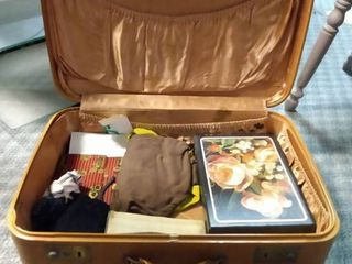 Vintage Suitcase with Miscellaneous Items