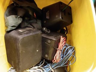 lot of Speakers and lamps