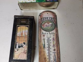 2 Tin Containers and 1 Tin Thermometer