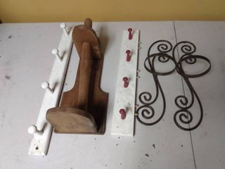 Wall Hanging Coat Racks  Paper Towel Holder   and Candle Holders