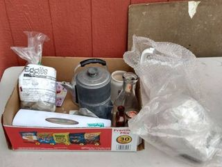box of kitchen items and two parts