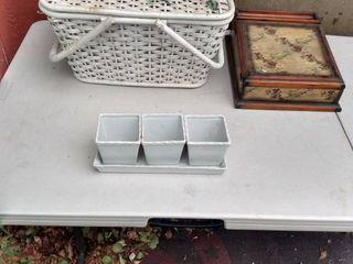 picnic basket organizer box and planter
