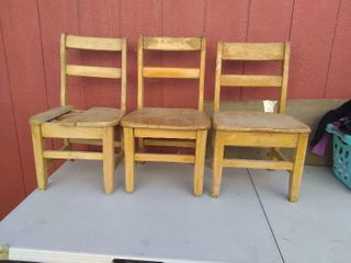 3 Small Wooden Chairs