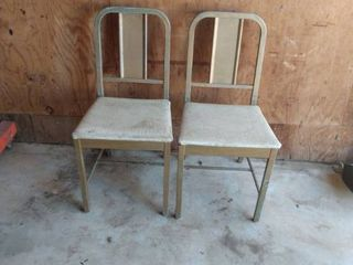 two vintage metal chairs