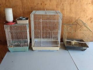 three wire and plastic bird houses