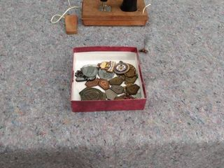 mini sewing machine with box of metals