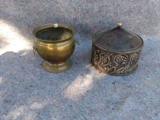 brass bucket and metal canister with lid