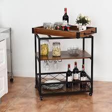 3 Tier Rolling Kitchen Cart Serving Island with Storage Shelf   Wheels  Retail 149 99
