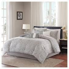 Devin Paisley Comforter Set  Queen  Gray   7pc