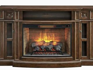 Allen   Roth 68 in Mahogany Infrared Quartz Electric Fireplace  Damaged See Pictures