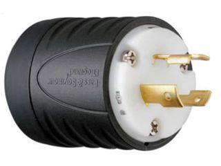 Box of 5  Pass  amp  Seymour 2 Pole  3 Wire Grounding locking Plug  Black  amp  White