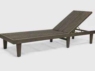 Nadine Outdoor Adjustable Wood Chaise lounge  Grey by Christopher Knight Home Retail 443 49
