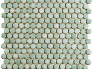 SomerTile 12x12 625 inch Penny Mint Green Porcelain Mosaic Floor and Wall Tile  10 tiles 10 74 sqft  Retail 109 08