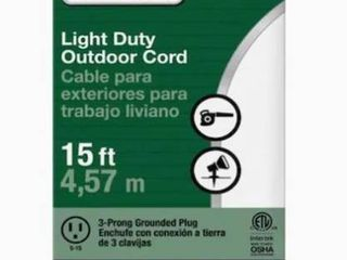 light Duty Outdoor Cord  15 ft  Set of 2