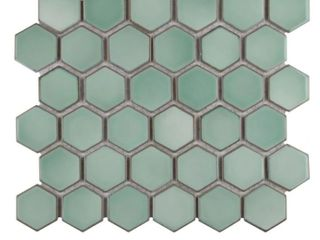 SomerTile Hudson 2  Due Hex Mint Green 12 1 2 in x 11 1 4 in  x 5mm Porcelain Floor and Wall Mosaic Tile  10 Tiles 9 97 sqft  Retail 144 69