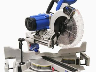 Kobalt 10 in 15 amp Dual Bevel Sliding Compound Miter Saw  Appears Pre Owned Powers On