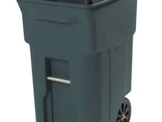 Toter Residential Heavy Duty 2 Wheeled Trash Container Cart with Attached lid  64 Gallon  Greenstone