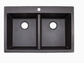 Franke Primo 33 in x 22 in Graphite Double Commercial Kitchen Sink  Damage to left Corner