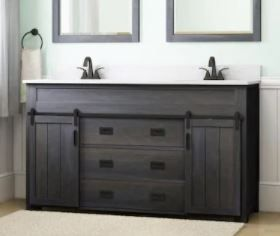 Style Selections Morriston Distressed Java Double Sink Vanity 60 in with White Engineered Stone Top  Damaged On Top and Back See Pictures