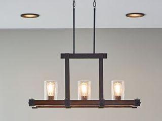 Kichler lighting Barrington  3 light Distressed Black and Wood Kitchen Island light  1 Cracked Glass Shade