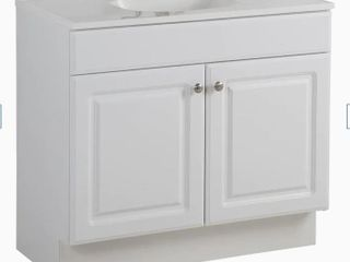 Project Source White Single Sink Vanity 36 in  Sink Not Included  Damaged Back Board  See Pictures