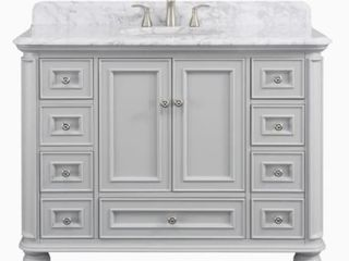 Scott living Wrightsville light Gray Single Sink Vanity with Natural Carrara Natural Marble Top  Common  48 in x 22 in