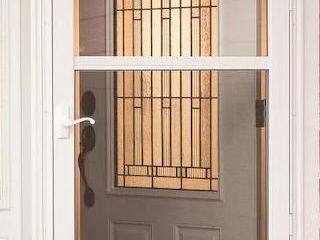 Comfort Bilt Concord White Mid View Tempered Glass Retractable Screen Storm Door  Damaged See Pictures