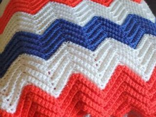 Red White and Blue Hand Knitted Blanket