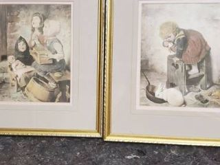 Pair of Framed Repro Paintings