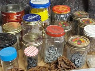 lot of Glass Jars and Contents