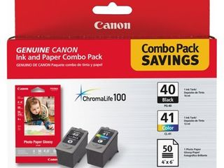 Canon 0615B009  PG 40 Cl 41  Chromalife100  Ink   Paper Combo Pack  Black Tri Color