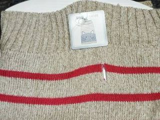Dog Sweater  cayre Group  Grays Beige   Pink Striped Size large 22 27