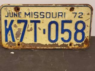 1972 Mo license Plate
