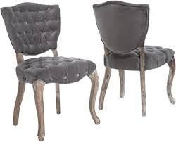 Bates Tufted Grey Fabric Dining Chairs  Set of 2  Retail 269 49