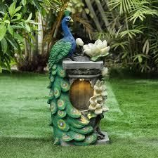 Polyresin Peacock Outdoor Fountain with lED light  Retail 342 99