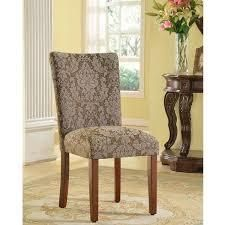 HomePop Elegant Parson Dining Chair  Blue and Brown Damask   N A  Retail 82 49