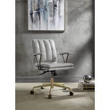 Damir Office Chair in Vintage White Top Grain leather and Chrome  Retail 555 49