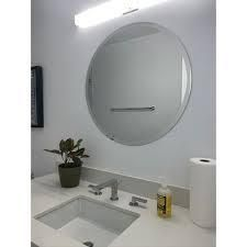 Frameless Beveled Edge Round Wall Mirror   Clear  Retail 98 99